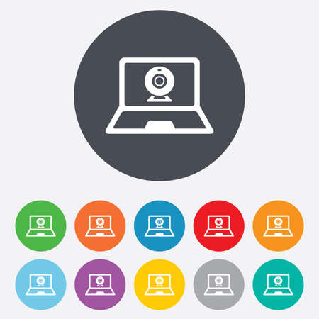Video chat laptop sign icon. Web communication symbol. Website webcam talk. Round colourful 11 buttons. Vector Vector