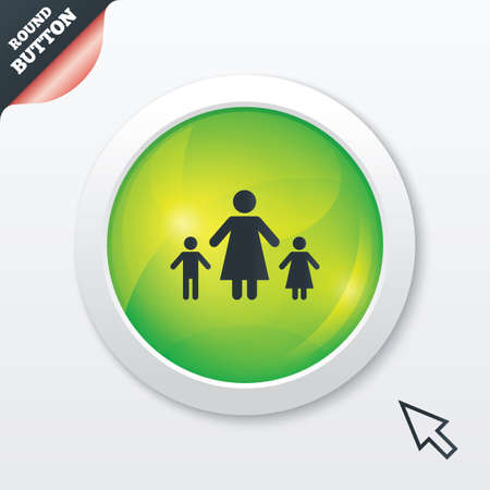 One-parent family with two children sign icon. Mother with son and daugther symbol. Green shiny button. Modern UI website button with mouse cursor pointer. photo