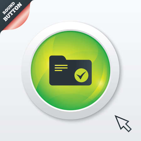 Select document folder sign. Accounting binder symbol. Bookkeeping management. Green shiny button. Modern UI website button with mouse cursor pointer. photo