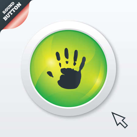 Hand print sign icon. Stop symbol. Green shiny button. Modern UI website button with mouse cursor pointer. photo