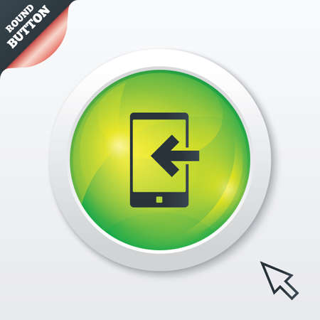 Incoming call sign icon. Smartphone symbol. Green shiny button. Modern UI website button with mouse cursor pointer. photo