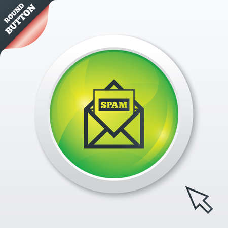 Mail icon. Envelope symbol. Message spam sign. Mail navigation button. Green shiny button. Modern UI website button with mouse cursor pointer. Stock Photo