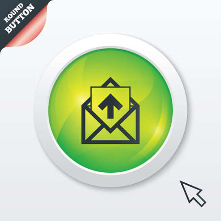 outgoing: Mail icon. Envelope symbol. Outgoing message sign. Mail navigation button. Green shiny button. Modern UI website button with mouse cursor pointer.