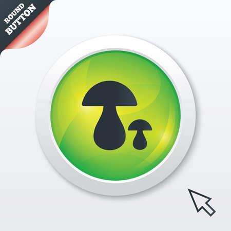 button mushroom: Mushroom sign icon. Boletus mushroom symbol. Green shiny button. Modern UI website button with mouse cursor pointer. Stock Photo
