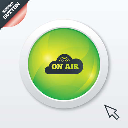 on air sign: On air sign icon. Live stream symbol. Green shiny button. Modern UI website button with mouse cursor pointer.