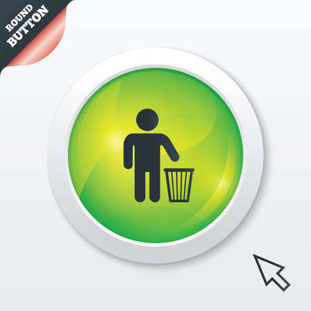 After use to throw in trash. Recycle bin sign. Green shiny button. Modern UI website button with mouse cursor pointer. Stock Photo - 27056218
