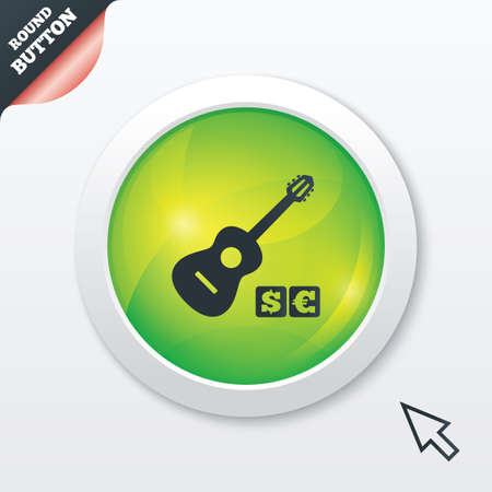 Acoustic guitar sign icon. Paid music symbol. Green shiny button. Modern UI website button with mouse cursor pointer.