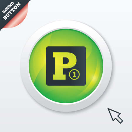 toll: Paid parking sign icon. Car parking symbol. Green shiny button. Modern UI website button with mouse cursor pointer.