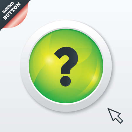 Question mark sign icon. Help symbol. FAQ sign. Green shiny button. Modern UI website button with mouse cursor pointer. photo