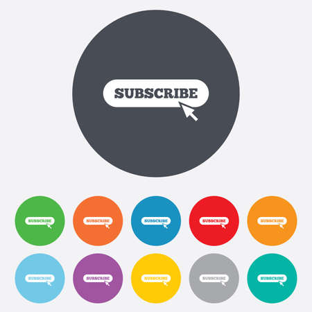 subscribing: Subscribe with cursor pointer sign icon. Membership symbol. Website navigation. Round colourful 11 buttons.