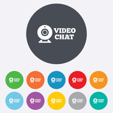 web cam: Video chat sign icon. Webcam video conversation symbol. Website webcam talk. Round colourful 11 buttons. Stock Photo