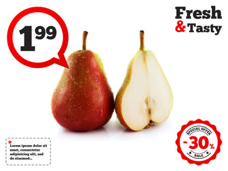 Ripe red pear with half on white background (water drops). Isolated fruit. Healthy fruit with vitamins. photo