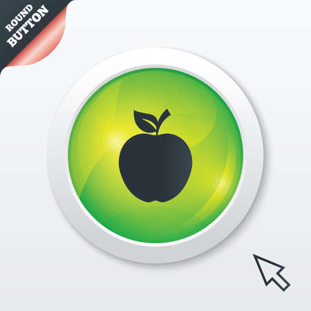 Apple sign icon. Fruit with leaf symbol. Green shiny button. Modern UI website button with mouse cursor pointer. Vector Vector