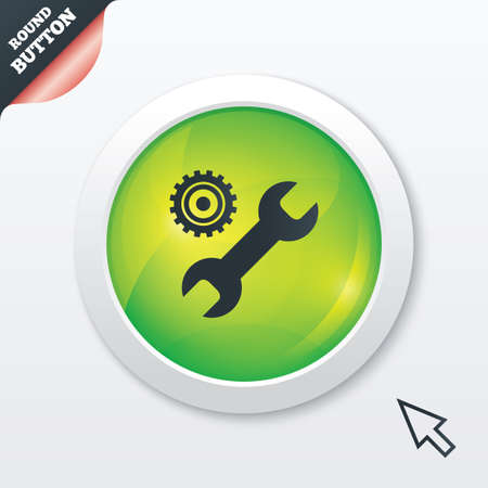 Repair tool sign icon. Service symbol. Hammer with wrench. Green shiny button. Modern UI website button with mouse cursor pointer. Vector