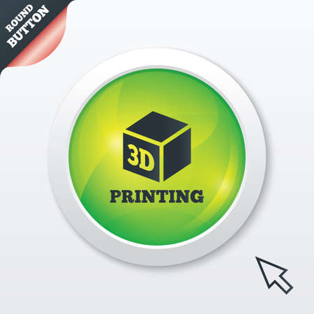 3D Print sign icon. 3d cube Printing symbol. Additive manufacturing. Green shiny button. Modern UI website button with mouse cursor pointer. Vector Vector