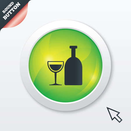 Alcohol sign icon. Drink symbol. Bottle with glass. Green shiny button. Modern UI website button with mouse cursor pointer. Vector Vector