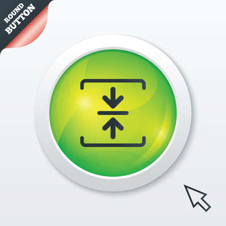 Archive file sign icon. Compressed zipped file symbol. Arrows. Green shiny button. Modern UI website button with mouse cursor pointer. Vector Vector