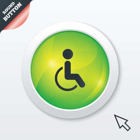 Disabled sign icon. Human on wheelchair symbol. Handicapped invalid sign. Green shiny button. Modern UI website button with mouse cursor pointer. Vector Vector