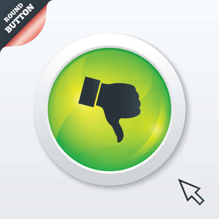 Dislike sign icon. Thumb down sign. Hand finger down symbol. Green shiny button. Modern UI website button with mouse cursor pointer. Vector Vector