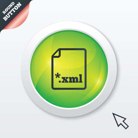extensible: File document icon. Download XML button. XML file extension symbol. Green shiny button. Modern UI website button with mouse cursor pointer. Vector
