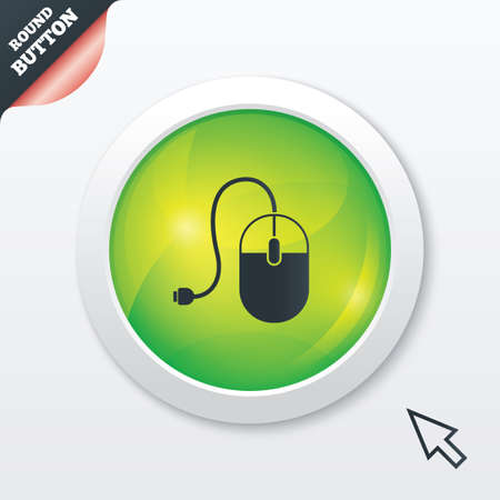 Computer mouse sign icon. Optical with wheel symbol. Green shiny button. Modern UI website button with mouse cursor pointer. Vector Vector