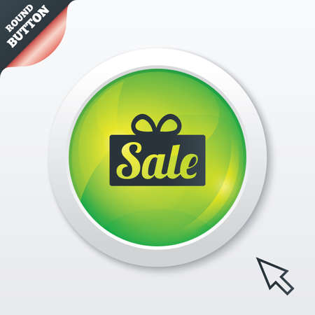 Sale gift box sign icon. Special offer symbol. Green shiny button. Modern UI website button with mouse cursor pointer. Vector Vector