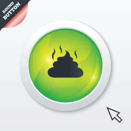 Feces sign icon. Clean up after pets symbol. Put it in the bag. Green shiny button. Modern UI website button with mouse cursor pointer. Vector Stock Vector - 27278399