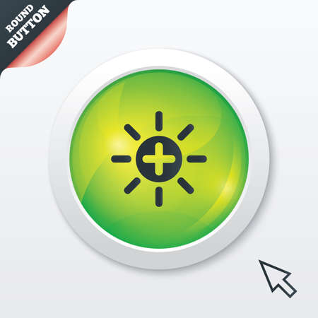 brightness: Sun plus sign icon. Heat symbol. Brightness button. Green shiny button. Modern UI website button with mouse cursor pointer. Vector Illustration
