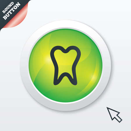 Tooth sign icon. Dental care symbol. Green shiny button. Modern UI website button with mouse cursor pointer. Vector Vector