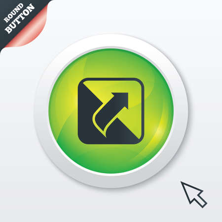 unscrew: Turn page sign icon. Peel back the corner of the sheet symbol. Green shiny button. Modern UI website button with mouse cursor pointer. Vector