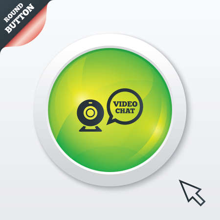 Video chat sign icon. Webcam video speech bubble symbol. Website webcam talk. Green shiny button. Modern UI website button with mouse cursor pointer. Vector Illustration