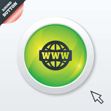 www at sign: WWW sign icon. World wide web symbol. Globe. Green shiny button. Modern UI website button with mouse cursor pointer. Vector