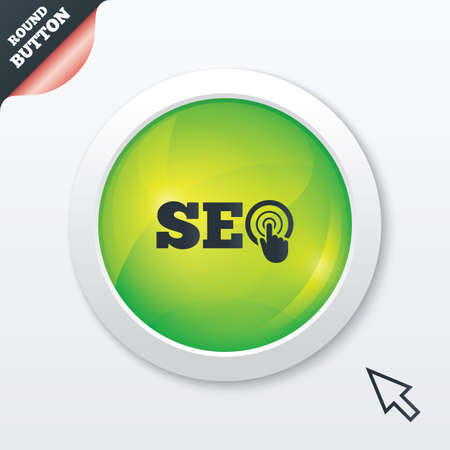 SEO sign icon. Search Engine Optimization symbol. Green shiny button. Modern UI website button with mouse cursor pointer. Vector Vector