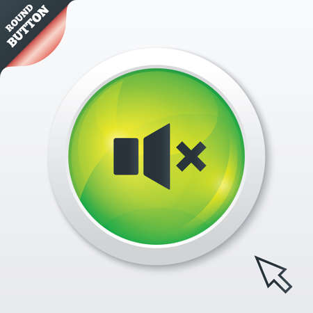 Mute speaker sign icon. Sound symbol. Green shiny button. Modern UI website button with mouse cursor pointer. Vector Vector