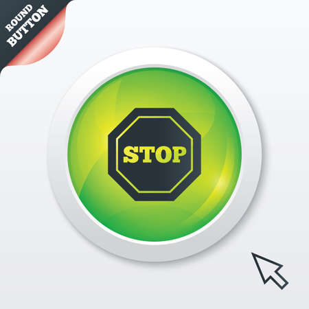 Traffic stop sign icon. Caution symbol. Green shiny button. Modern UI website button with mouse cursor pointer. Vector Vector