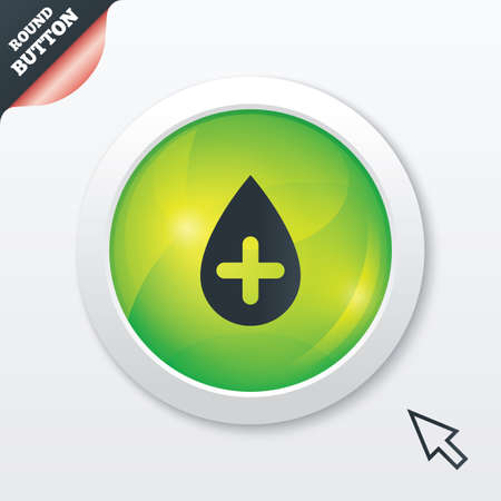 Water drop with plus sign icon. Softens water symbol. Green shiny button. Modern UI website button with mouse cursor pointer. Vector Illustration
