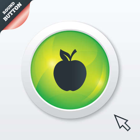 Apple sign icon. Fruit with leaf symbol. Green shiny button. Modern UI website button with mouse cursor pointer. photo