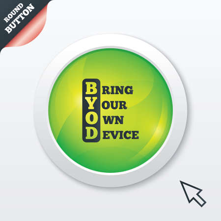 BYOD sign icon. Bring your own device symbol. Green shiny button. Modern UI website button with mouse cursor pointer. photo