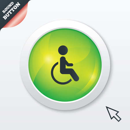 Disabled sign icon. Human on wheelchair symbol. Handicapped invalid sign. Green shiny button. Modern UI website button with mouse cursor pointer. photo