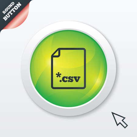 tabellare: Icona del documento File. Scarica il pulsante tabellare file di dati. CSV simbolo estensione del file. Tasto verde lucido. UI moderna tasto sito web con il puntatore del mouse il cursore.