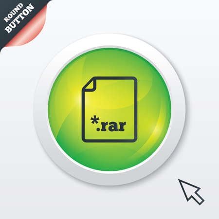 Archive file icon. Download compressed file button. RAR zipped file extension symbol. Green shiny button. Modern UI website button with mouse cursor pointer. photo