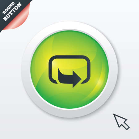 Action sign icon. Share symbol. Green shiny button. Modern UI website button with mouse cursor pointer. photo