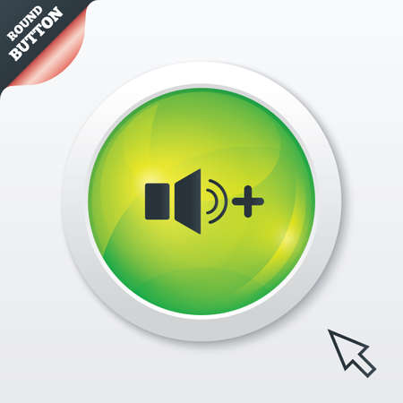 louder: Speaker volume louder sign icon. Sound symbol. Green shiny button. Modern UI website button with mouse cursor pointer. Stock Photo