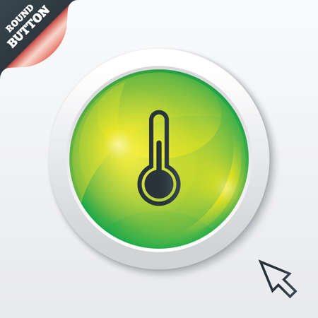hotness: Thermometer sign icon. Temperature symbol. Green shiny button. Modern UI website button with mouse cursor pointer. Stock Photo