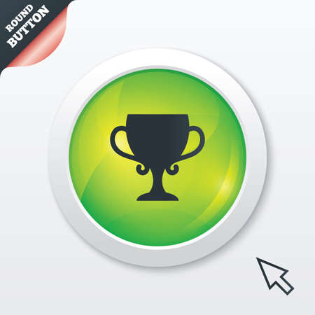 Winner cup sign icon. Awarding of winners symbol. Trophy. Green shiny button. Modern UI website button with mouse cursor pointer. photo