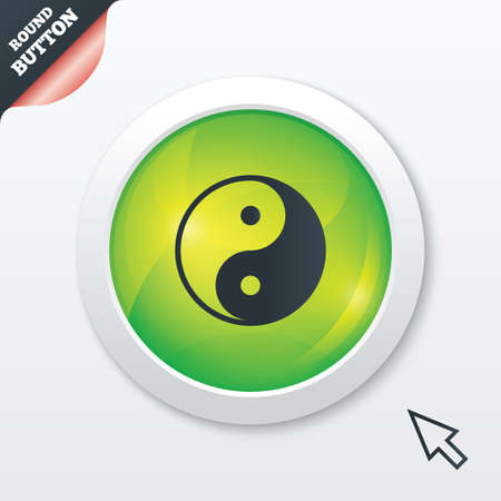 Ying yang sign icon. Harmony and balance symbol. Green shiny button. Modern UI website button with mouse cursor pointer. photo