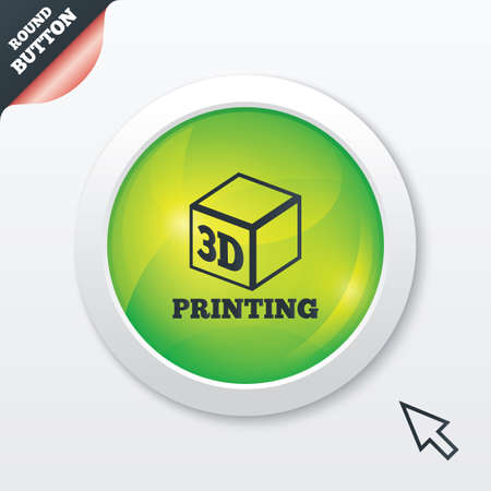 additive manufacturing: 3D Print sign icon. 3d cube Printing symbol. Additive manufacturing. Green shiny button. Modern UI website button with mouse cursor pointer.
