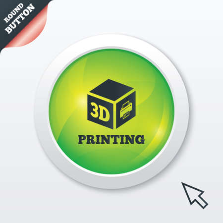 3D Print sign icon. 3d cube Printing symbol. Additive manufacturing. Green shiny button. Modern UI website button with mouse cursor pointer. photo