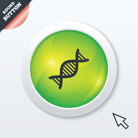 DNA sign icon. Deoxyribonucleic acid symbol. Green shiny button. Modern UI website button with mouse cursor pointer. photo