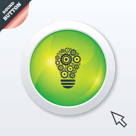 Light lamp sign icon. Bulb with gears and cogs symbol. Idea symbol. Green shiny button. Modern UI website button with mouse cursor pointer. photo